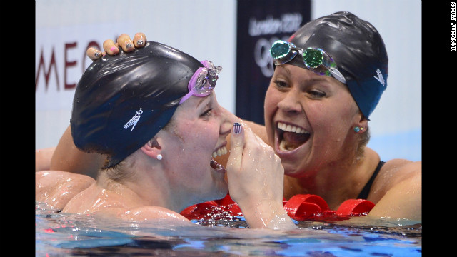 Missy Franklin, left, is congratulated by Elizabeth Beisel after winning gold and breaking the world record in the women's 200-meter backstroke final on Friday.