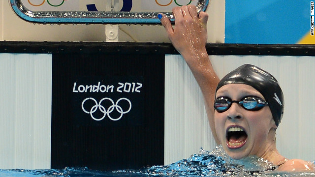 15-year-old Katie Ledecky of the U.S. reacts after winning the women's 800m freestyle beating hot favorite from Great Britain, Rebecca Adlington who took bronze. 