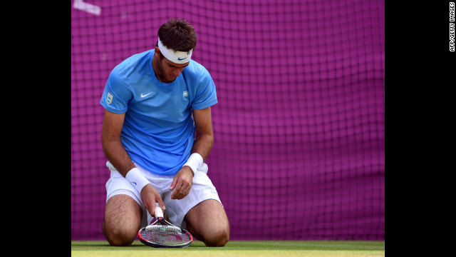 Argentina's Juan Martin del Potro reacts after losing the men's singles semi-final match against Switzerland's Roger Federer on Friday.