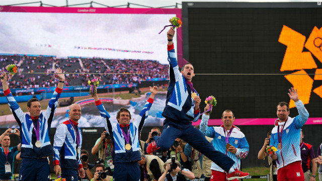 Team GB's Etienne Stott can barely contain his joy after winning gold in the men's canoe double with partner Tim Baillie. Great Britain took gold and silver after Richard Hounslow and David Florence finished second.