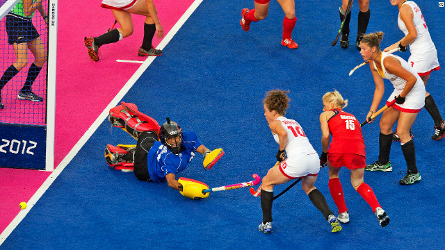 Great Britain's Alex Danson looks on as her side ease to a 3-0 victory over Belgium.