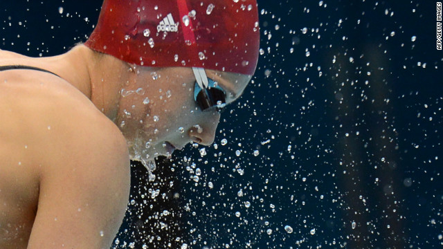 Britain's Amy Smith gets ready to compete in the women's 50-meter freestyle heat.