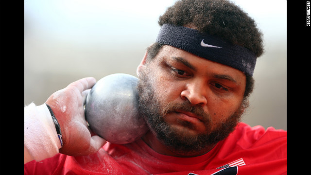 Reese Hoffa of the United States competes in the men's shot put qualification.