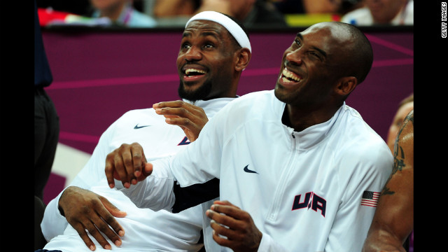 LeBron James, left, and Kobe Bryant watch the men's basketball preliminary round match on Thursday, August 2 in London. Check out Day 5 of competition from Wednesday, August 1. The Games ran through August 12.