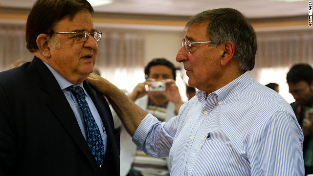 Afghanistan Defense Minister General Abdul Rahim Wardak (L) speaks to U.S. counterpart Leon Panetta in June.