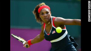 Serena Williams hits a return to Russia\'s Maria Sharapova during the women\'s singles tennis final on Saturday, August 4.