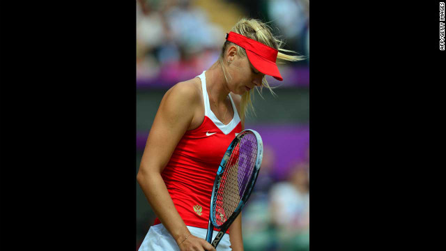 Russia's Maria Sharapova reacts after losing a point to Serena Williams during the women's singles tennis final.