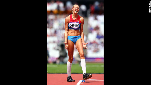 Tatyana Chernova of Russia reacts during the women's heptathlon javelin throw.