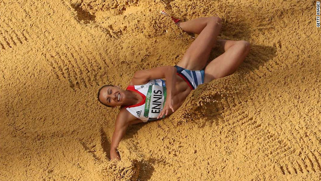 Jessica Ennis of Great Britain competes in the women's heptathlon long jump.