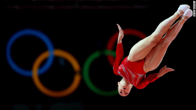 Katherine Driscoll of Great Britain competes in trampoline.