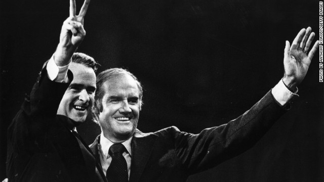 The Democratic ticket in 1972, of George McGovern (right) and vice-presidential pick, Senator Thomas Eagleton. Eagleton left the race after 18 days following revelations about his depression.