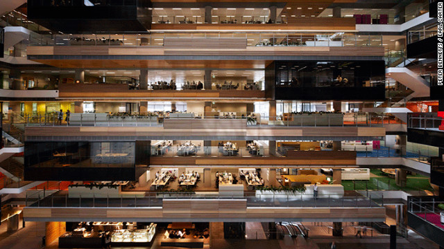 Designed by agency Hassell, it was completed in 2010. The 130,000 square meter building has a 6 Green Star green rating.