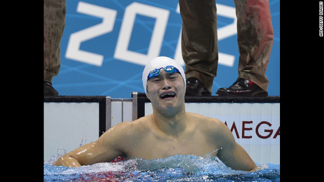 China's Sun Yang reacts after winning gold in the men's 1500-meter freestyle final.