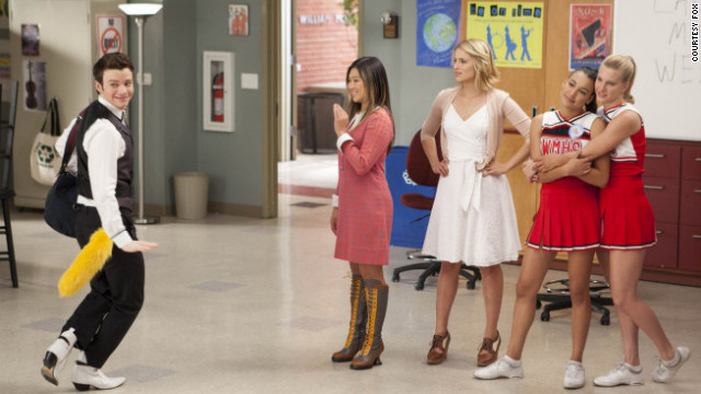 High-schooler Kurt shows off for the girls on Fox's &quot;Glee.&quot;