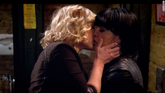 Arizona and Callie's first kiss on ABC's &quot;Grey's Anatomy.&quot;
