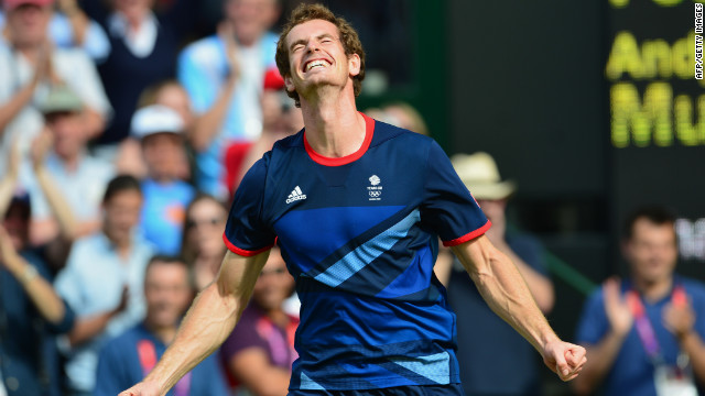 Great Britain's Andy Murray exults after defeating Switzerland's Roger Federer to win the gold medal in men's tennis singles at Wimbledon.