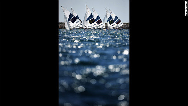 Action from the star class medal race at Weymouth Harbour in Weymouth, England.