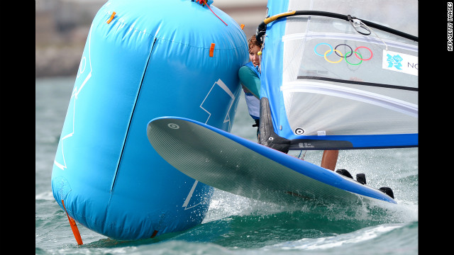 Poland's Zofia Noceti-Klepacka is attacked by a furious punching bag during a sailing competition.