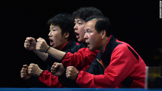 Members of Japan's table tennis team put on their hilarious &quot;Driver's Ed&quot; sketch during a match.