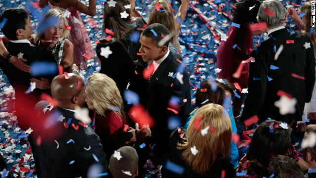 Then-Sen. Barack Obama stands among well-wishers at the 2008 Democratic National Convention in Denver.