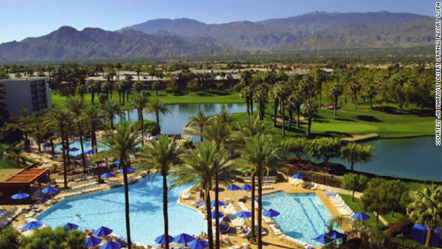 More than 25 species of exotic birds make their home of the grounds of this 450-acre resort 13 miles southeast of Palm Springs, California.