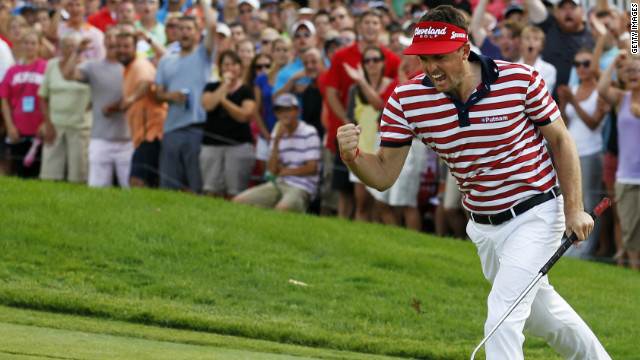 Keegan Bradley defends the U.S. PGA Championship title he won in 2011 at Kiawah Island