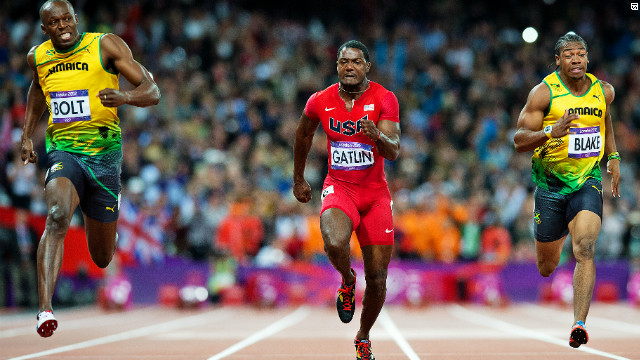 Bolt was bidding to become the first man since Carl Lewis to retain the men's 100m crown, but there were many who thought his fellow Jamaican, friend and training partner Yohan Blake (left) could steal gold.