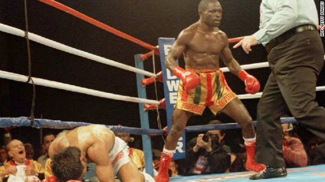 Nelson knocks Mexico's Gabriel Ruelas down in the second round of their WBC Super Featherweight title bout in Indio, California, on 01 December 1995.