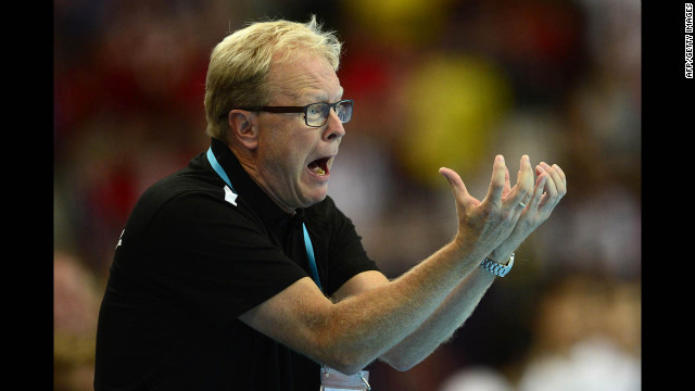 Denmark coach Ulrik Wilbek reacts during the men's preliminary Group B handball match against South Korea.