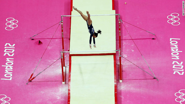 Elizabeth Tweddle of Great Britain competes in the women's uneven bars final.
