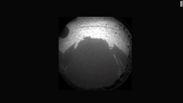 Another of the first images beamed back from NASA's Curiosity rover on August 6, 2012, is the shadow cast by the rover on the surface of Mars.