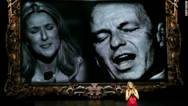 """All the Way,"" Celine Dion's duet with Frank Sinatra, appeared on the Canadian singer's 1999 album ""All the Way ... A Decade of Song."" Dion is shown here performing the song during her Las Vegas show in 2006. (Sinatra recorded the tune in 1957.)"