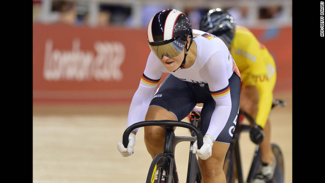 Germany's Kristina Vogel, front, and Lithuania's Simona Krupeckaite compete during the women's cycling sprint quarterfinal.