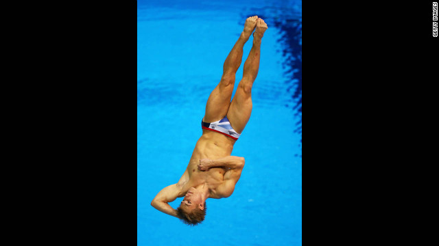 Jack Laugher of Great Britain competes in the men's 3-meter springboard diving preliminary.