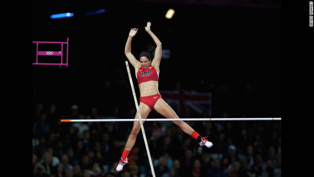 Jennifer Suhr of the United States competes in the women's pole vault final on Monday. Suhr won gold in the event. 