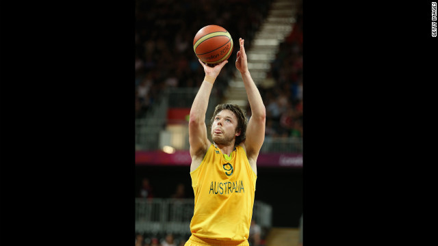 Matt Dellavedova of Australia can't quite perfect his Michael Jordan impersonation.