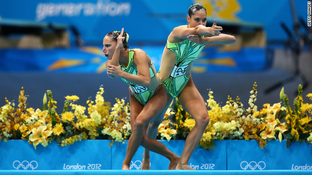 Swiss synchronized swimmers Pamela Fischer and Anja Nyffeler based their routine on the &quot;Bang Bang (My Baby Shot Me Down)&quot; sketch from a 1972 episode of &quot;The Sonny &amp; Cher Comedy Hour.&quot;