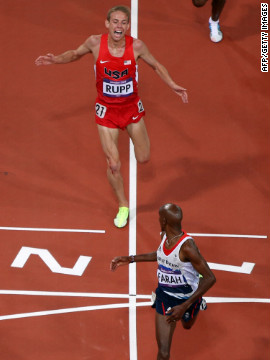 """For me the Olympics always provides an opportunity for people who we expect to win... and the athletes who come onto the stage that no one expects,"" says Max Seigal. ""Galen Rupp's performance in the 10,000 meters was one of those memories."" Galen Rupp would finish hot on the heels of his friend and training partner, Team GB's Mohamed Farah, pictured here looking back at the U.S. athlete coming in second."