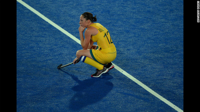 Madonna Blyth of Australia reacts to losing the chance to qualify for the semifinals after a goalless draw in the women's field hockey preliminary round match between Argentina and Australia 