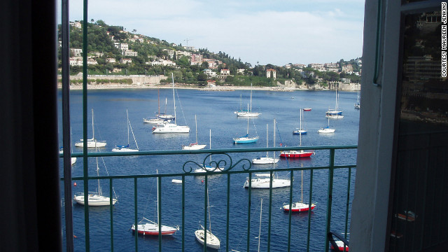 Provençal Waterfront Penthouse, one of seven Villefranche-sur-Mer apartments available for rent through Riviera Experience, offers unobstructed views of the Bay of Villefranche.