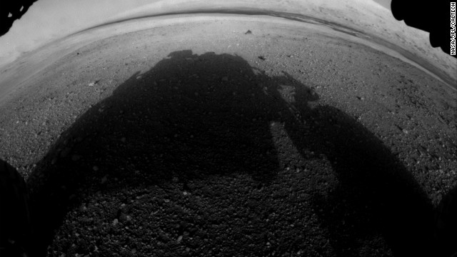 This is one of the first pictures taken by Curiosity after it landed. It shows the rover's shadow on the Martian soil.
