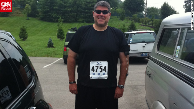 Rucker readies for his first 5K race, The Great Buffalo Chase, on July 4, 2011. 