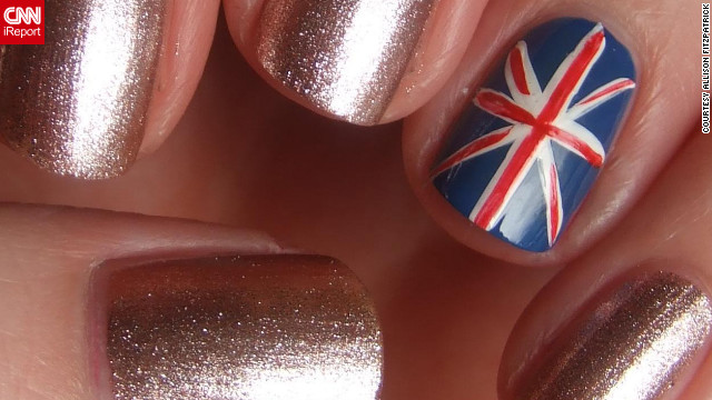 "Fitzpatrick created an equally stunning manicure featuring the Union flag ""to celebrate the host city"" of London."