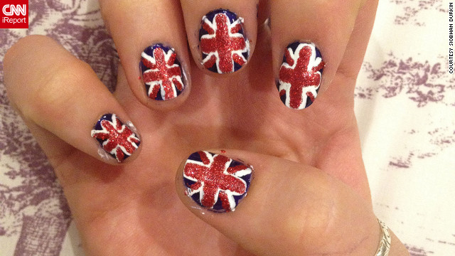 Siobhan Durkin of Birmingham, England, turned her nails into 10 little Union flags to &quot;get behind my country&quot; in the Olympics. She's been into nail art for &lt;a href='http://ireport.cnn.com/docs/DOC-825459'&gt;about a year&lt;/a&gt;. 