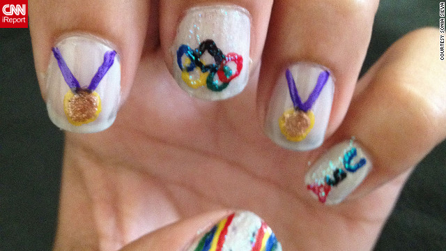 """I'd consider myself somewhat of a tomboy,"" said Sonia Silva of San Diego. ""I thought it'd be cool to try to put a sporty spin on a girly hobby, and I decided to try Olympic themed nail art."" The <a href='http://ireport.cnn.com/docs/DOC-825575'>little gold medals</a> are especially cute!"