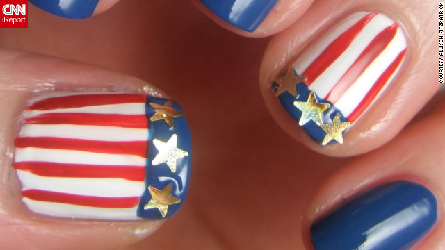 "American swimmer Missy Franklin's nails inspired this <a href='http://ireport.cnn.com/docs/DOC-824158'>patriotic design</a> by Allison Fitzpatrick. ""Nail art is a great way to feel like you are part of the Games,"" said the Charlotte, North Carolina, resident."