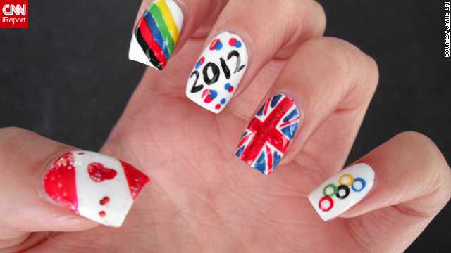 "Jayne Lim designed her manicure to represent her home country of Canada and her host country, Great Britain. ""What better way to <a href='http://ireport.cnn.com/docs/DOC-824372'>celebrate and show support</a> for the London Olympics than with nail art?"" said the Vancouver resident. ""It lasts longer [and] is more subtle than face paint, and I can't be wearing Olympic regalia 24/7!"""