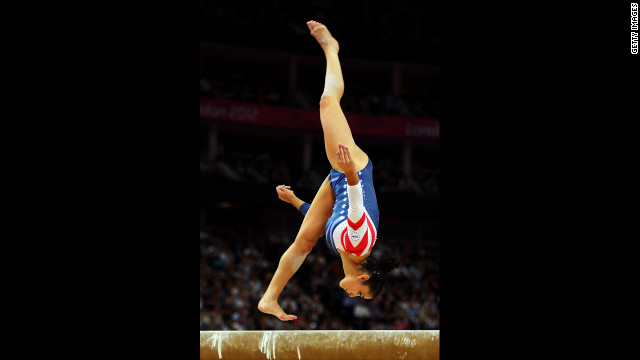 Alexandra Raisman of the United States competes in the women's balance beam final.
