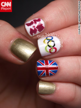 "Samantha Tremlin also wanted to show support for her home country of Great Britain. It took her about an hour to <a href='http://ireport.cnn.com/docs/DOC-824621'>paint this manicure</a> that features the Olympic rings, Union flag and logo for London 2012. ""It feels as though the Games have united every single person in the country with all the excitement and pride we're feeling. The opening ceremony was just fantastic and made me so proud to be British,"" she said."