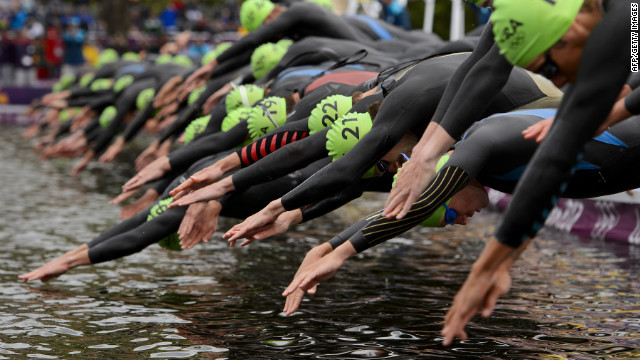 The men's triathlon begins in London.